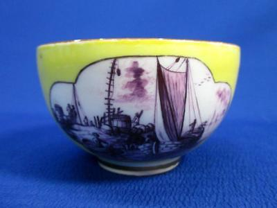 Early Meissen Handleless Cup Yellow & Purple Crossed Swords Mark