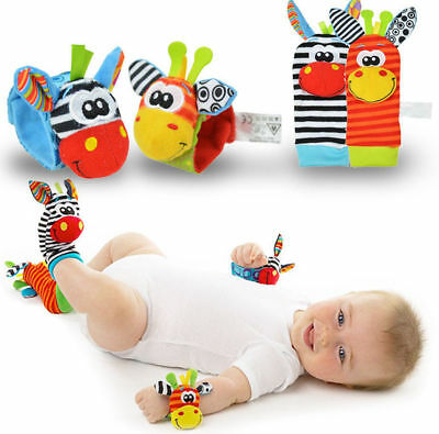 New Baby Infant Rattle Foot Socks and Animals Soft toys Sensory Gift