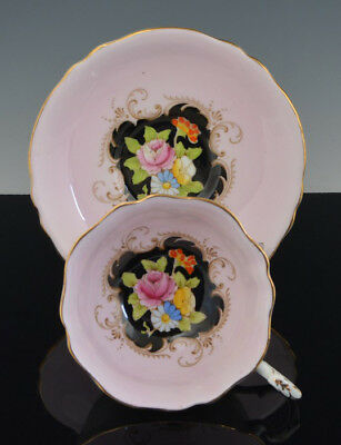Vintage Scarce Footed PARAGON CUP & SAUCER PINK & BLACK ROSE & FLOWERS NR