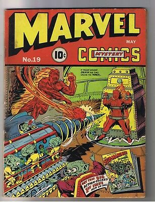 MARVEL MYSTERY COMICS 19 Schomburg cover Human Torch Sub-Mariner Timely