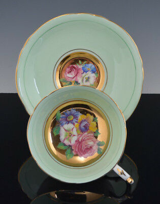 Vintage Footed PARAGON CUP & SAUCER Green Heavy Gold CABBAGE ROSE & FLOWERS NR