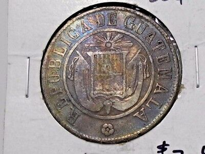 1870 Guatemala 50 Centavos .835 Silver Circulated Coin