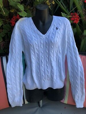 RALPH LAUREN White Cable Knit Sweater XL