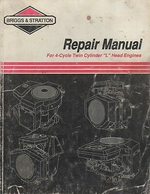 """1994 Briggs/stratton 4 Cycle Twin Cylinder """"l"""" Head Service/repair Manual (672)"""