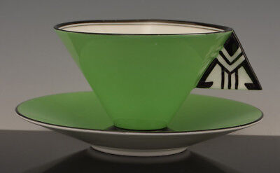Vintage Rare Footed SHELLEY 11776 VOGUE Art Deco BLACK & GREEN CUP & SAUCER NR