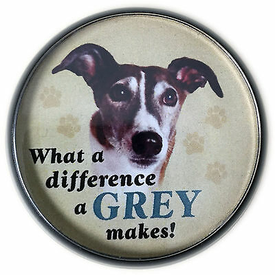 Greyhound Round Magnet -Magnetic Tagnet -attaches to shirt or bag without a hole