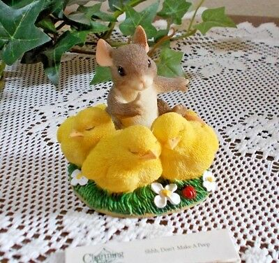 """Fritz & Floyd Charming Tails Figurine """"Shhh, Don't Make a Peep""""  New in Box"""