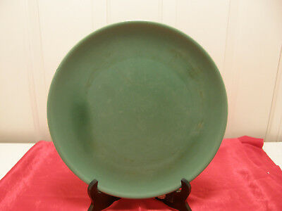 "Authentic Catalina Island Pottery Green 10-1/2"" plate, LT 12"