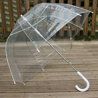 NEW Clear Mushroom Umbrella Handle Transparent Dome See Through Walking Umbrella