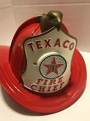 Vintage Texaco Toy Firemen Fire Chief Hat Helmet Mib Never Used