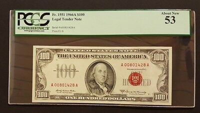 (SCARCER RED SEAL) 1966A $100 Legal Tender Note, PCGS 53 About New