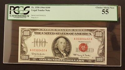 (BEAUTIFUL RED SEAL) 1966 $100 Legal Tender Note, PCGS 55 Choice About New