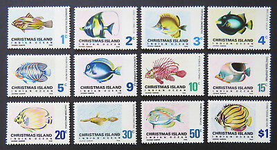 1968 Christmas Island Stamps - Definitives - Indian Ocean Fish - Set 12 MNH