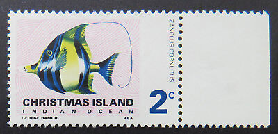 1968 Christmas Island Stamps - Indian Ocean Fish Definitives - Single 2c-Tab MNH