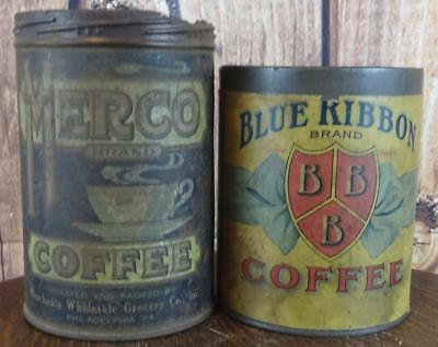 VTG circa 1920's Tin Coffee Cans Blue Ribbon & Merco Vintage Advertising Decor