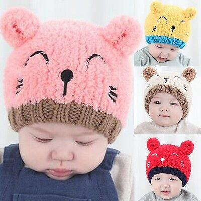 Baby Toddler Girls Boys Cat Hat Winter Beanie Hooded Scarf Earflap Knitted Cap #