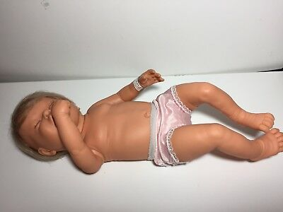 "Vintage Berjusa New Born Doll Anatomically Correct Girl 19"" Id Bracelet"