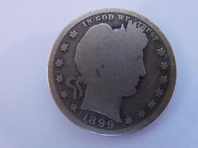 USA 1899S Barber 90% Silver Quarter Dollar, AG to good Condition scarce key date