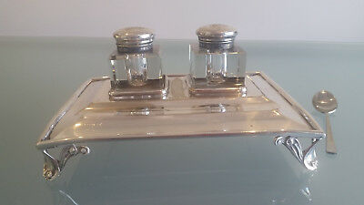 Silver Plated Embosed Pen & Ink Stand Dated 27 - 2 - 1916. With Engraved Initial