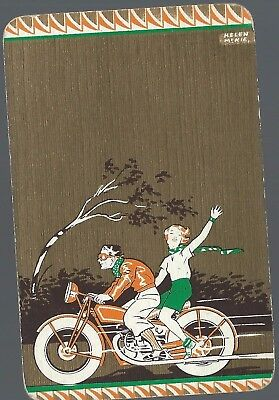 Vintage Playing Swap Card Goodall Helen McKie 1920's Motorcyclist Couple Design