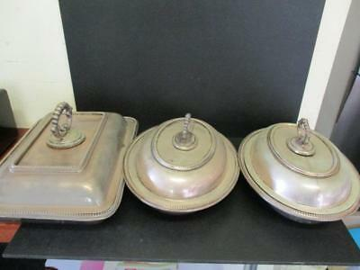 x3 EPNS SILVERPLATED SERVING DISHES & LIDS CLOCHE OVAL SILVERPLATE ANTIQUE