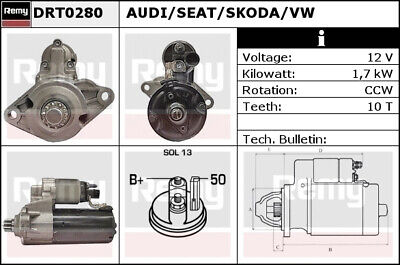 AUDI A3 8P 3.2 Starter Motor 03 to 09 308407RMP Remy Genuine Quality Replacement