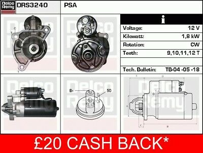 TALBOT EXPRESS 1.9D Starter Motor 87 to 90 XUD9A Remy Top Quality Replacement