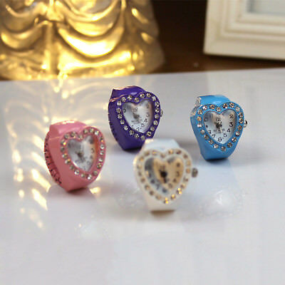 Women heart-shaped ring watch Colourful Gift table Fashion Cute Finger Accessory