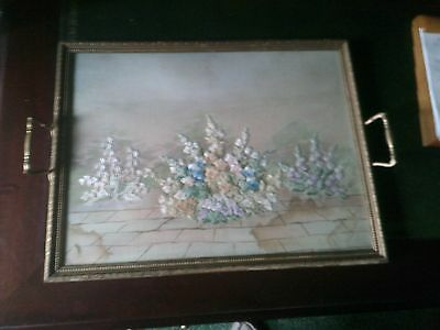Serving Tray, Vintage 1940s Floral Silk Embroidered Serving Tray