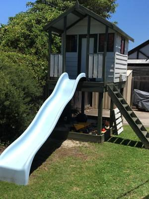 Cubby House Wooden Aaron's Playhouse Outdoor Elevated Sandpit Slide Verandah