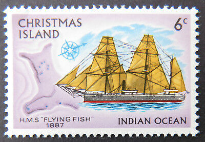 1972 Christmas Island Stamps - Sailing Ships Definitives - Single 6c MNH