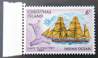 1972 Christmas Island Stamps - Sailing Ships Definitives - Single 6c - Tab MNH