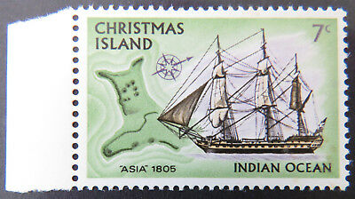 1972 Christmas Island Stamps - Sailing Ships Definitives-Single 7c-Marked MNH