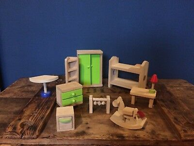 ELC wooden dolls house bedroom furniture. 99p start! Early Learning Centre