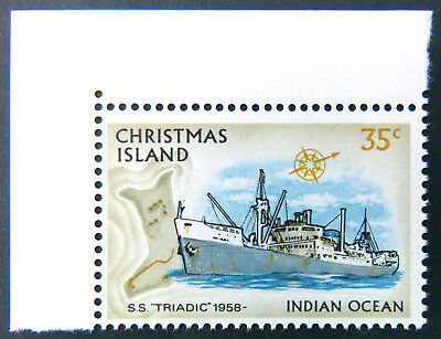 1973 Christmas Island Stamps - Sailing Ships Definitives-Cnr Single 35c-Tab MNH