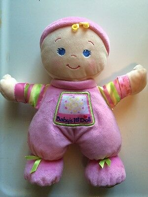 Fisher Price My First Baby Doll Blonde Hair Blue Eyes Lovey Pink