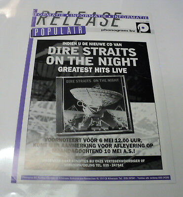 Dire Straits Dutch Holland Phonogram 1993 Promo Release Sheet On The Night 2