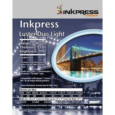 """Inkpress Duo Luster Photo Paper (11x14""""), 20 Sheets Double-Sided #LD111420"""