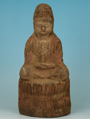chinese Collect Wood Hand Carving Kwan-yin Buddha Statue