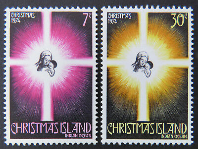 1974 Christmas Island Stamps - Christmas - Star / Family - Set of 2 MNH