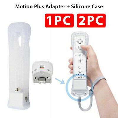 2X 1X Motion Plus Sensor Controller Adapter + Case for Nintendo Wii Remote White