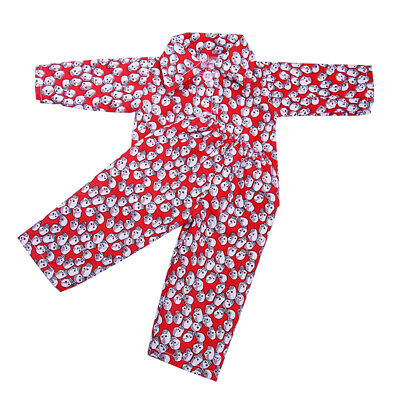 Pajamas PJS Clothes Red Skull for 18'' American Girl Our Generation Doll