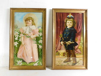 Antique 1930s 40s Sealed Framed 2 Prints Children Boy Girl Rifle Soldier Lilies