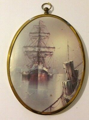 Vintage Nautical/Ship Picture In Oval Brass Frame