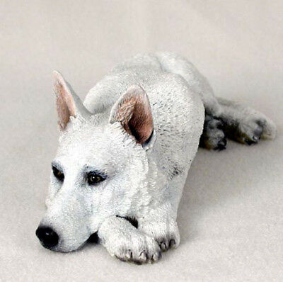 GERMAN SHEPHERD  (WHITE) MY  DOG  Figurine Statue Gift Resin Hand Painted