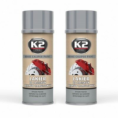K2 BRAKE CALIPER PAINT 2x 400ml Brake Caliper Lack Bremssattel Spray Silber