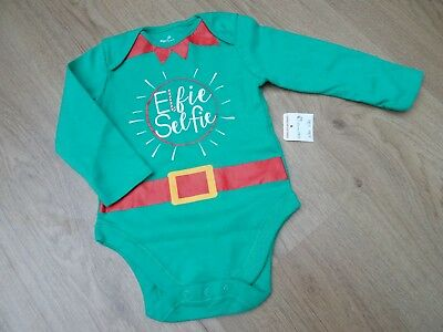 Baby Boys Or Girls New Age 9-12 Months Santas Elf Christmas Vest Outfit Top