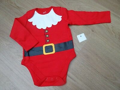Baby Boys Bnwt Age 0-3 Months Santa Father Christmas Vest Outfit Suit Top