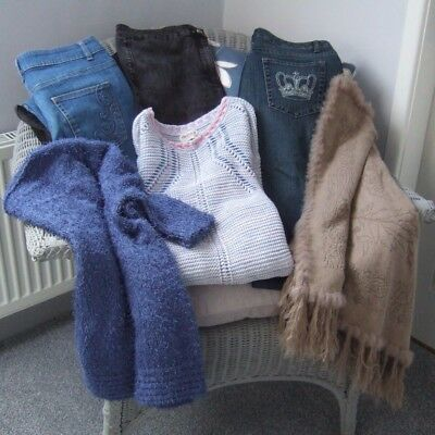 Bundle 6 Items - Size 16  -  3 Prs. JEANS / 2 JUMPERS  / PONCHO - Good Condition