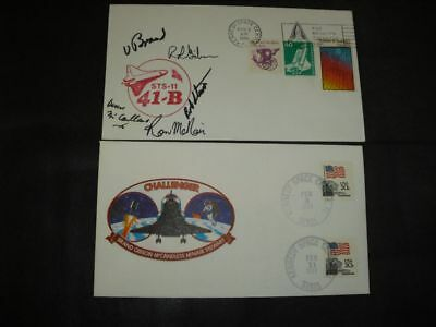 STS 41B launch/landingset orig.signed Crew incl. McNAIR, SPACE